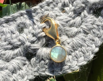Progress Stitch Marker for Knitters and Crocheters - Labradorite Bezel Set in Gold Vermeil // Use on all Yarn Weights up to Cat #6
