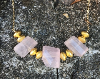 Freeform Triple Rose Quartzes with Gold Vermeil Discs Necklace on a 14K Gold-Filled Chain - 26 inches