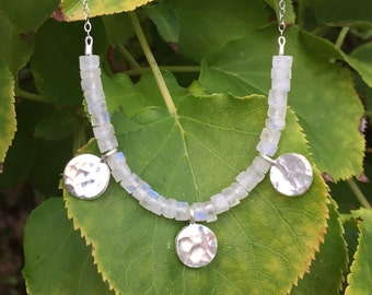 "SALE >> Moonstone ""Phases of the Moon"" Necklace in Sterling Silver - 18 inches"