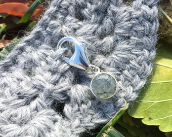 Progress Stitch Marker for Knitters and Crocheters - Green Tourmalinated Quartz Bezel Set in Sterling Silver