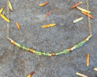SALE >> Peridot and Gold Vermeil Bead Bar Necklace on a 14K Gold-Filled Chain - 19 inches