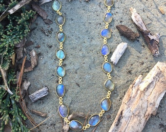 Super Deluxe Labradorite Freeform Bezel Set Gold Vermeil Necklace on a 14K Gold-Filled Ovals and Rounds Chain - 30 inches
