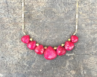 Dyed Ruby Pearshapes Boho Necklace on a 14K Gold-Filled Bar Chain - 18 inches