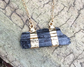 Raw Black Tourmaline Bar Gold Plated Necklace on 14K Gold Filled Chain - 16 or 18 inches