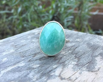Amazonite Oval Bezel Set Gold Vermeil Stackable Ring - Size 5.5-7 (Adjustable)