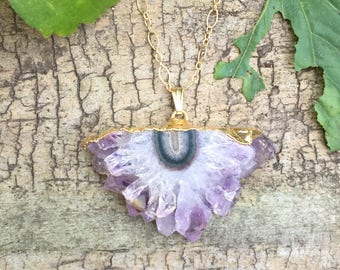 Amethyst Half Moon Geode Slice Gold Plated Pendant Necklace on a 14K Gold Filled Textured Ovals and Rounds Chain - 18 inches