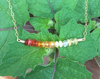 Fire Opal Ombre Bead Bar Necklace on a 14K Gold-Filled Chain - 18 inches