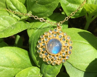 Labradorite and White Topaz Round Bezel Set Cluster Gold Vermeil (Larger) Pendant Necklace on a 14K Gold-Filled Chain - 18 inches