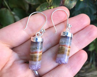 Raw Amethyst Geode Druzy Tube Earrings in Sterling Silver