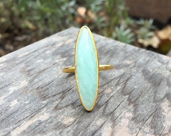 Amazonite Marquise Bezel Set Gold Vermeil Stackable Ring - Size 6-7 (Adjustable)