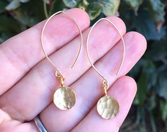 Gold Vermeil Hammered Disc Drop Earrings on Marquise-Shaped 14K Gold-Filled Ear Wires