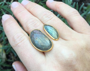 Labradorite Double Kidney Floating Bezel Set Gold Vermeil Stackable Ring - Size 6-7 (Adjustable)