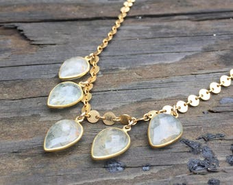 Tourmalinated Quartz Upside Down Pears Necklace on a 14K Gold-Filled Solid Textured Disc Chain - 18 inches