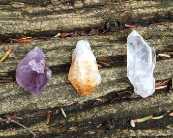 Loose Natural Gemstone Crystals - Amethyst, Citrine, or Quartz