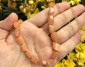 Peach Moonstone Chunky Necklace with Gold Vermeil Beads on a 14K Gold-Filled Round Textured Chain - 30 inches