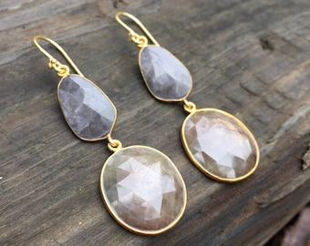 Natural Corundum (Sapphire) Grey and Brown Double Drop Earrings Bezel Set on Gold Vermeil Cluster Ear Wires