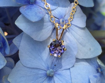 Iolite Round Six-Prong Pendant Necklace in 14K Gold Fill - 16 or 18 inches