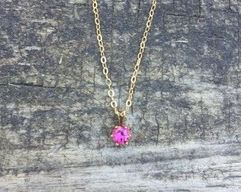Pink Tourmaline Round Six-Prong Pendant Necklace in 14K Gold Fill - 16 inches