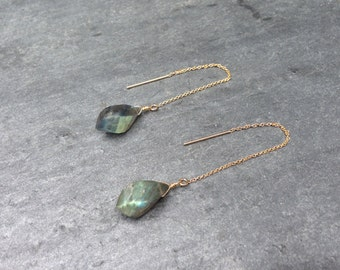 Labradorite Twist Dangle Drop Earrings on 14K Gold-Filled Ear Threads