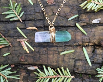 Watermelon Tourmaline Crystal Wire Wrapped Necklace in 14K Gold-Fill - 18 inches