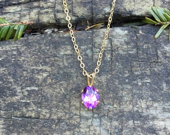 Amethyst Oval Six-Prong Pendant Necklace in 14K Gold Fill - 16 or 18 inches