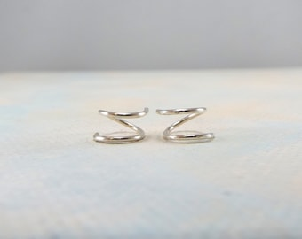XS Tiny Twist Earrings, Cartilage Earring, Spiral, Huggie Hoops, Tiny Hoops, Double Hoops, Silver, Rose or Yellow Gold, Gift, Free Shipping