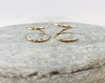 Tiny Twist Earrings Spiral Earrings Huggie Hoops Petite Simple Minimal Minimalist Double Hoops Gold Rose Gold Silver Gift Free Shipping