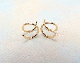XS Tiny Twist Earrings, Cartilage Earring, Spiral, Huggie Hoops, Tiny Hoops, Double Hoops, Yellow or Rose Gold, Silver, Gift, Free Shipping