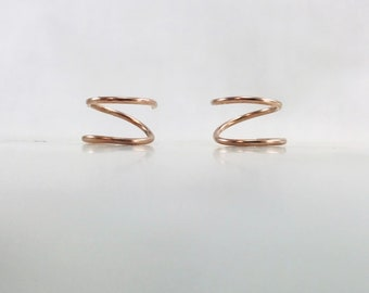 Tiny Twist Earrings, Spiral Earrings, Huggie Hoops, Twist Earrings, Fake Double Hoop Earring, Rose Gold, Gold, Silver, Gift, Free Shipping