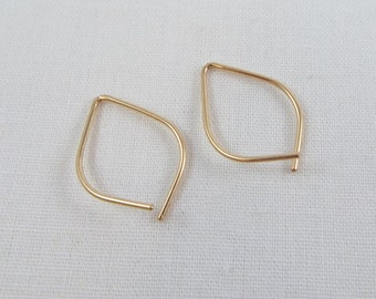 Small Petal Hoop Earrings, Threader Hoops, Pull Through, Minimalist Modern Contemporary Light Weight Gold Rose Gold Silver FREE SHIPPING