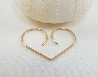 Open Hoop Earrings, Swoop Earrings Modern Hoop Threader Minimalist Light Weight 14 KT Gold Rose Gold Sterling Silver Gift FREE SHIPPING