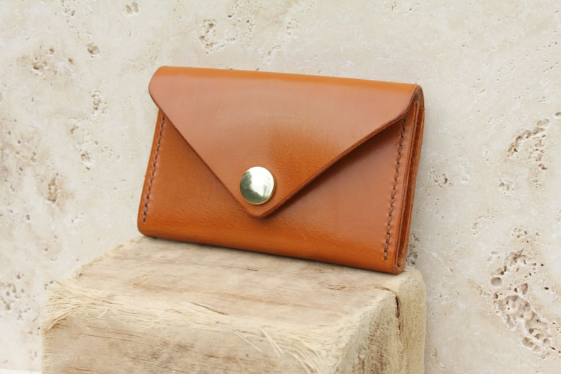 665c0cc5c51 Tan leather envelope card wallet. British veg-tan leather | Etsy