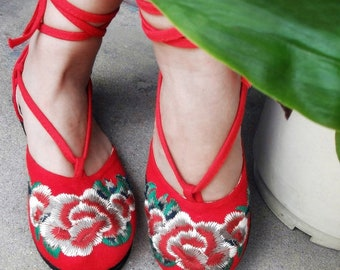Lace Up Flat embroidered Espadrilles with  Red Peony #001