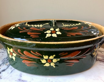 Primitive Antique Ceramic Dish French Casserole Dish Large Antique French Terrine Glazed Terracotta Oven Dish Antique Lidded Oven Dish