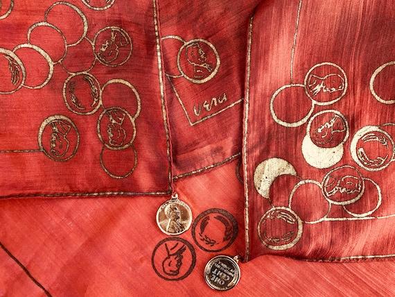 1950's Vera Neumann Silk Pennies Charm Scarf; Earl