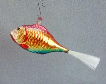 Vintage German Lauscha Glass Christmas Tree Ornament Fish With Spun Glass Tail