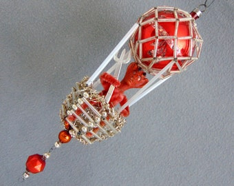 Vintage German Glass Christmas Tree Ornament Hot Air Balloon With Krampus 1950s