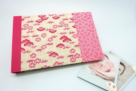 Livre De Naissance Bebe Fille Album Photo Premiere Annee Papier Japonais Bambou Et Fleurs Rose Esprit Zen Japon Idee Cadeau Bapteme