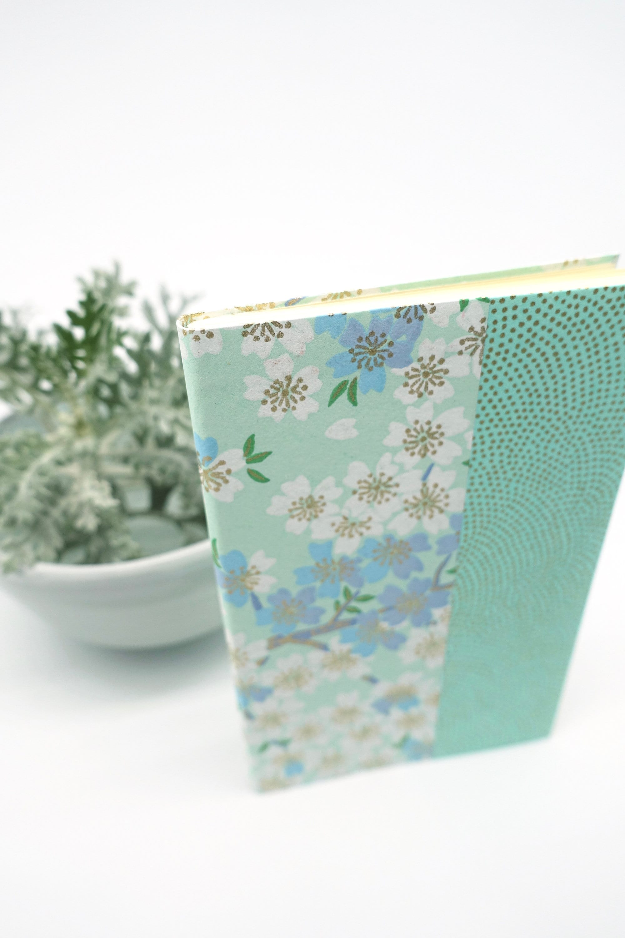 Medium Blank Japanese NOTEBOOK Journal Diary Green or Lilac Japanese Paper Cover