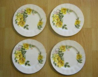 4 Vintage Royal Kent Fluted Floral Teaplates