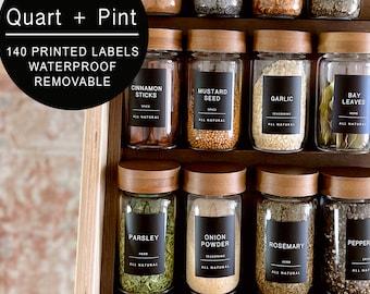 140 Minimalist Black Spice Labels. Preprinted Modern Farmhouse Spice Jar Labels. Black Vinyl Stickers + White. Organization for Pantry Jars