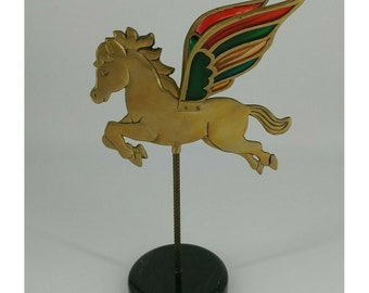 Pegasus statue, stained glass wings, brass, flying horse, mythical animal