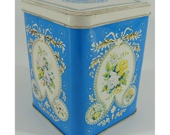 Blue and White Floral Tea Tin, Made in England,