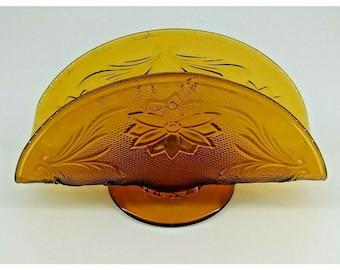 Amber Indiana Tiara Pressed Sandwich Glass Napkin Holder, Amber Glass,