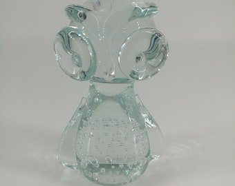 Glass Owl Paperweight, Clear, Controlled Bubbles, Bulliconti,