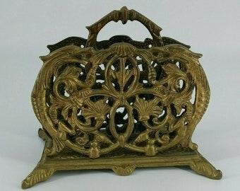 Vintage Brass Ornate Letter Sorter, Napkin Holder, Leaf motif