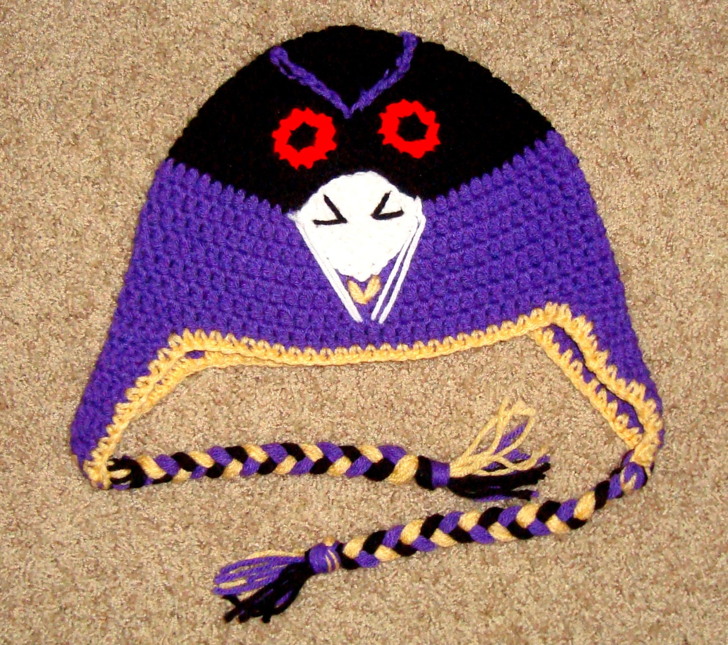 64f3cce726d ... low cost crochet baltimore ravens hat etsy 7bc91 bce2e