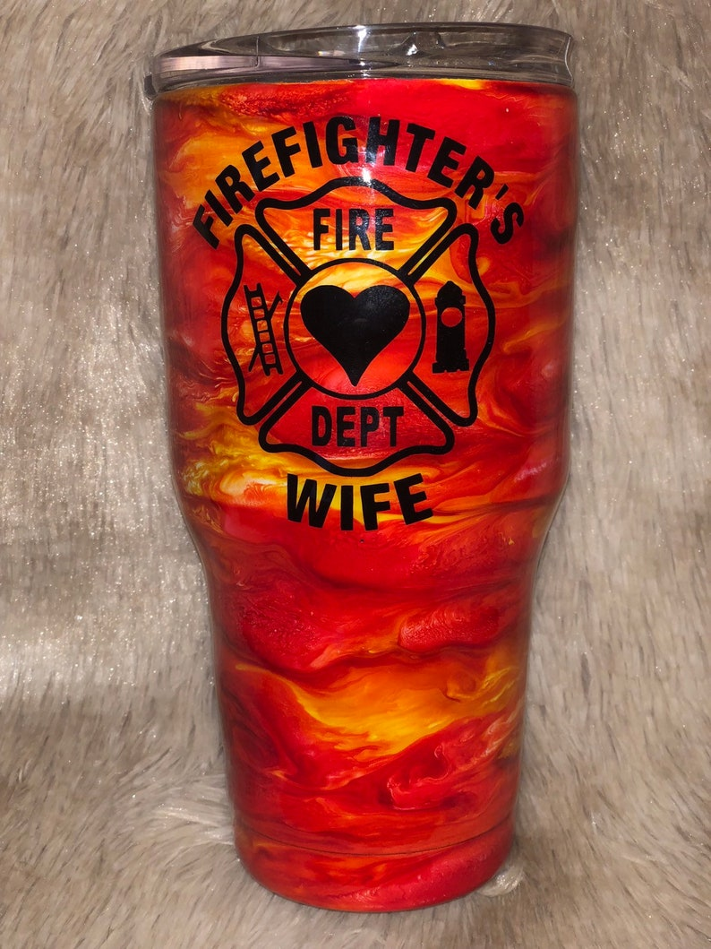 c97a848be09 Firefighters Wife Fire Storm Epoxy Tumbler