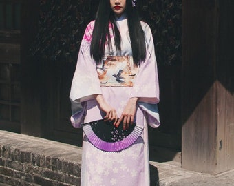 Lost in Kyoto collection pink white fusion cherry blossom kimono outwear
