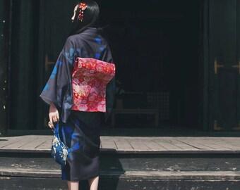 Lost in Kyoto Collection black blue cherry blossom kimono dress outwear